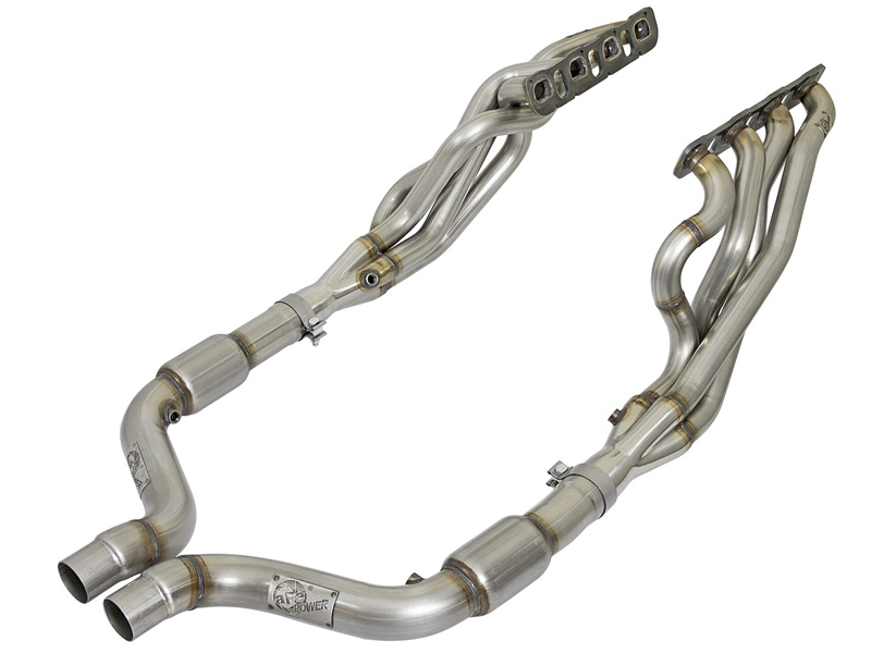 "aFe POWER 48-32012-YC 2"" Twisted Steel Long Tube Header & Connection Pipes; Street Series Dodge Challenger/Charger SRT Hellcat 15-17 V8-6.2L (sc) HEMI - 48-32012-YC"