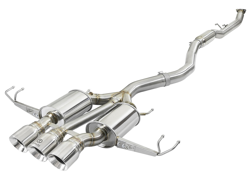 """Takeda 3"""" 304 Stainless Steel Catback Exhaust System w/ Tri-Polished Tips Honda Civic Type R 16-20 I4-2.0L (t) - 49-36623-P"""