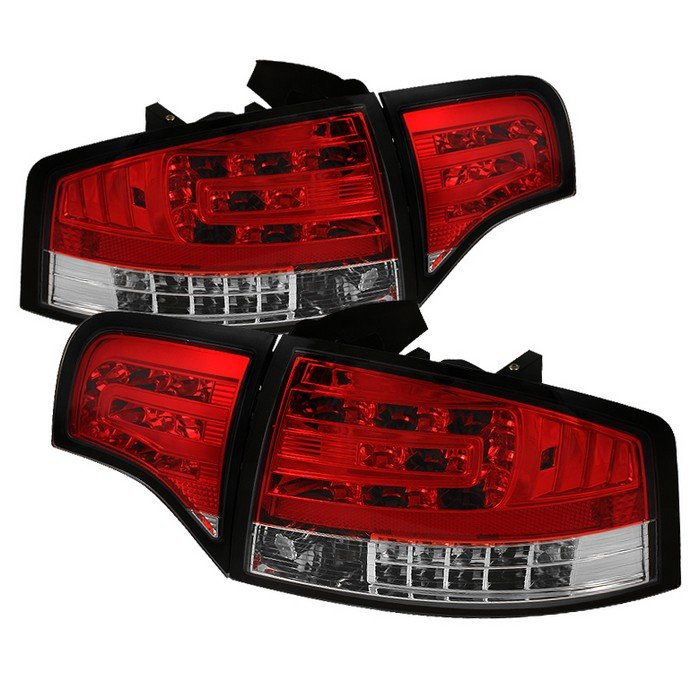 Spyder red clear LED Tail Lights Audi A4 06-08 - ALT-YD-AA406-G2-LED-RC
