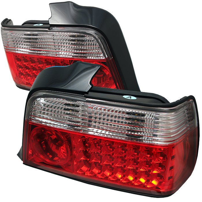 Spyder red clear LED Tail Lights BMW E36 3-Series 4DR 92-98 - ALT-YD-BE3692-4D-LED-RC