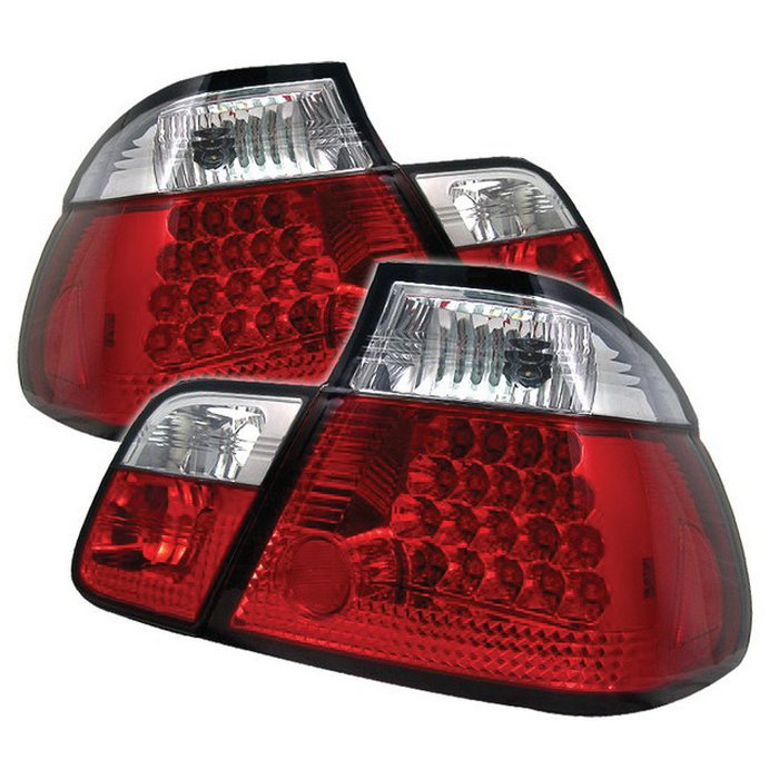 Spyder LED red clear Tail Lights BMW E46 3-Series 4Dr 99-01 - ALT-YD-BE4699-4D-LED-RC