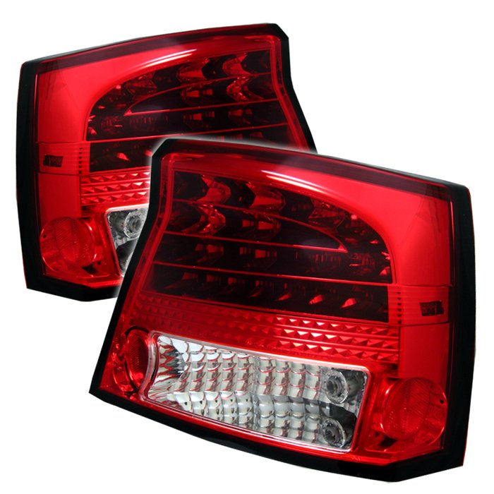Spyder LED Red/Clear Tail Lights Dodge Charger 05-08 - ALT-YD-DCH05-LED-RC