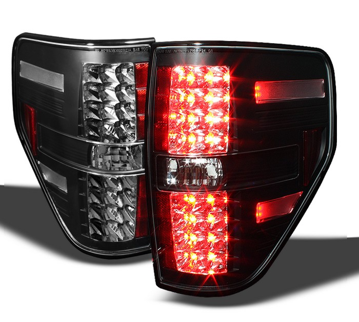 Spyder LED Black Tail Lights Ford F150 Styleside 09-10 - ALT-YD-FF15009-LED-BK