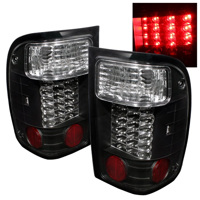 Spyder LED Black Tail Lights Ford Ranger 93-97 - ALT-YD-FR93-LED-BK