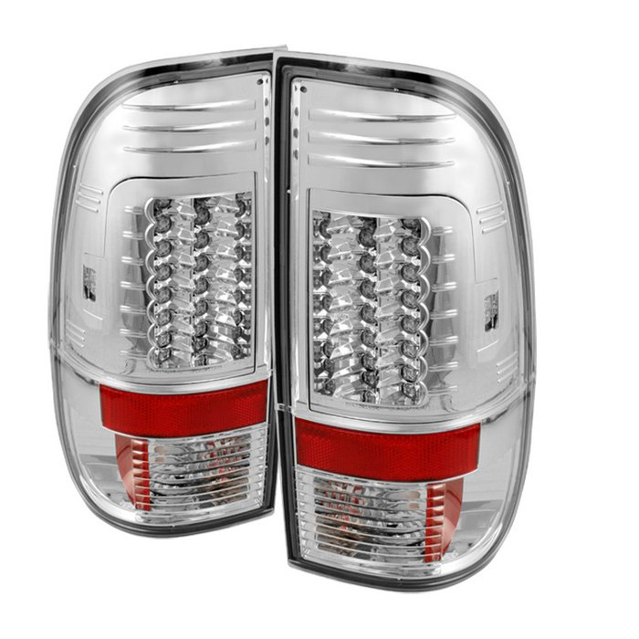Spyder Version 2 LED Chrome Tail Lights Ford F250 350 450 550 Super Duty 08-09 - ALT-YD-FS07-LED-G2-C