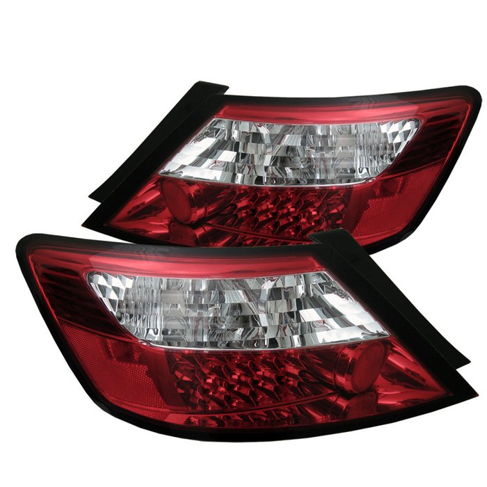 Spyder 2Dr LED Red/Clear Tail Lights Honda Civic 06-10 - ALT-YD-HC06-2D-LED-RC