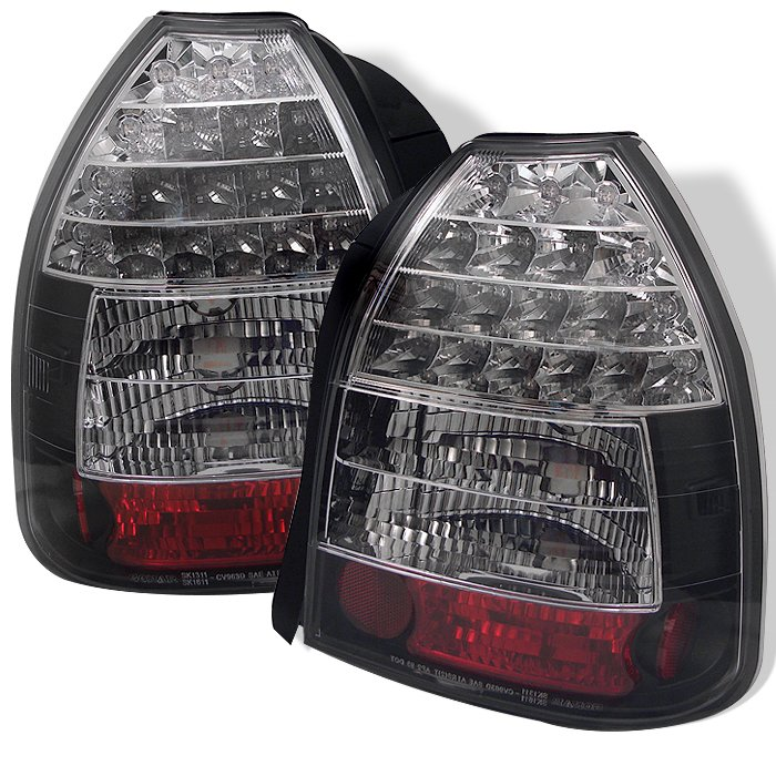 Spyder 3Dr LED Black Tail Lights Honda Civic 96-00 - ALT-YD-HC96-3D-LED-BK
