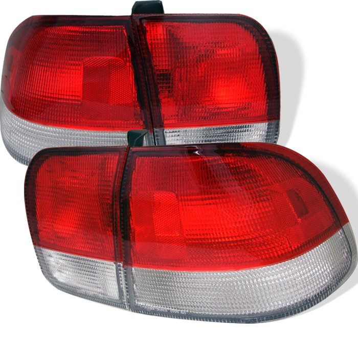 Spyder 4Dr Red/Clear Tail Lights Honda Civic 96-98 - ALT-YD-HC96-4D-RC
