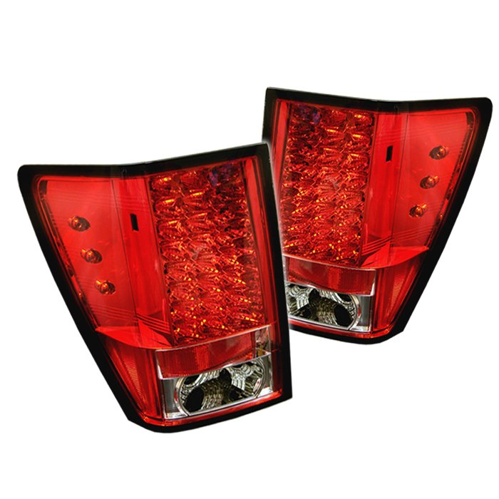 spyder led red clear tail lights jeep grand cherokee 05 06. Black Bedroom Furniture Sets. Home Design Ideas
