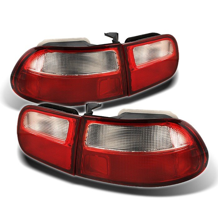 Spyder 3Dr Red/Clear Tail Lights Honda Civic 92-95 - ALT-YD-HC92-3D-LED-RC
