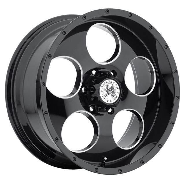 American Outlaw Grit Gloss Black W/Ball Machine Wheel 20x9 6x139.7 10mm - DT-73420