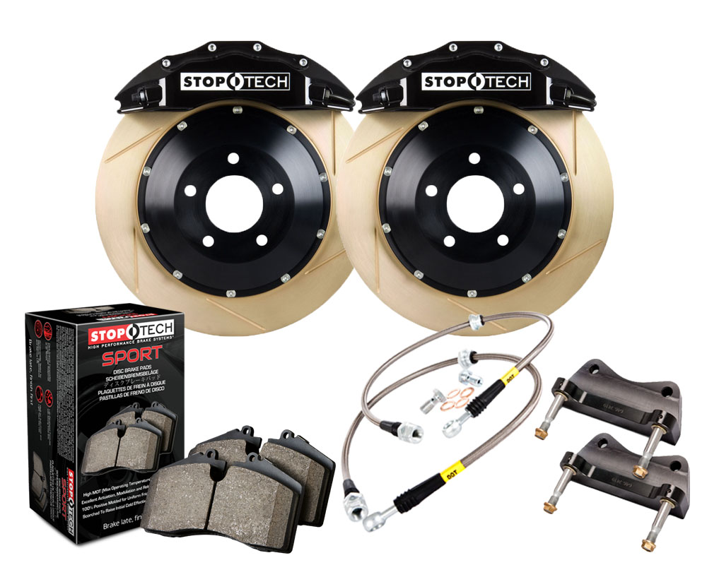 StopTech Big Brake Kit; Blue Caliper; Drilled Two-Piece Zinc Coated Rotor; Rear BMW Front - 83.154.6700.53