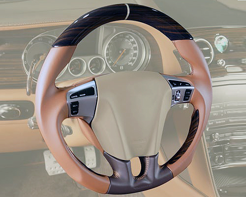 Mansory Sport Steering Wheel Leather   Wood with Mansory Logo Bentley Continental Flying Spur W12 14-15 - BFS 351 445