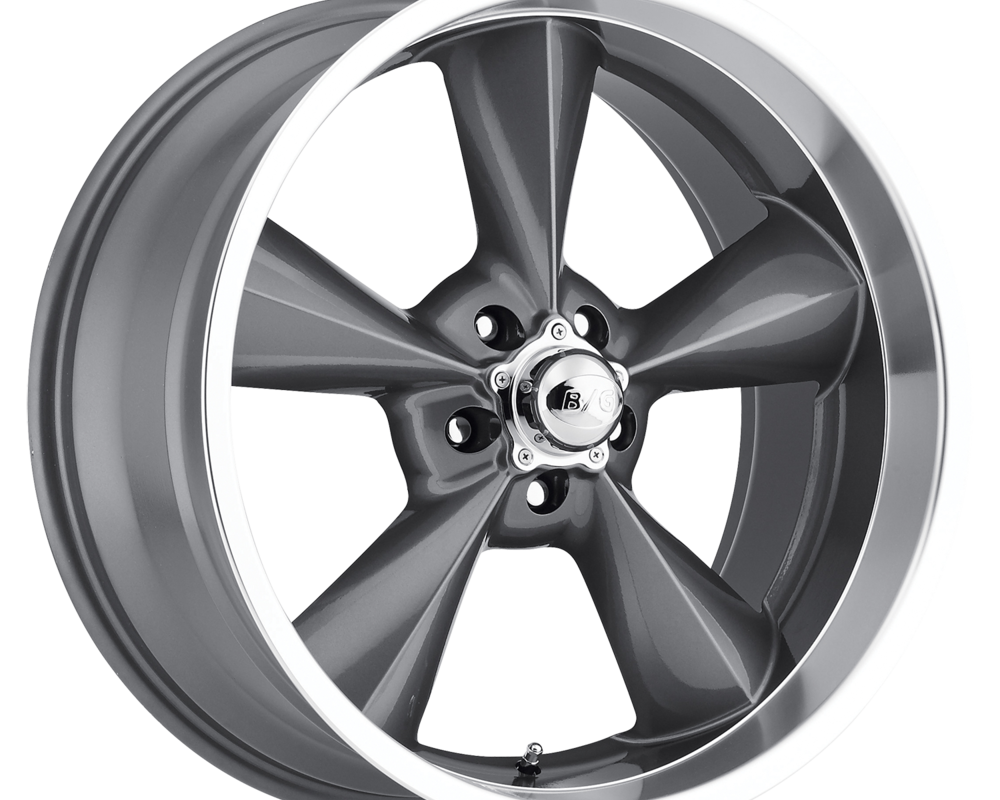 B/G Rod Works Wheels Old School Wheel 20x8.5 5x127 7mm Gun Metal Machined Lip - OS 285-5127-07 GML