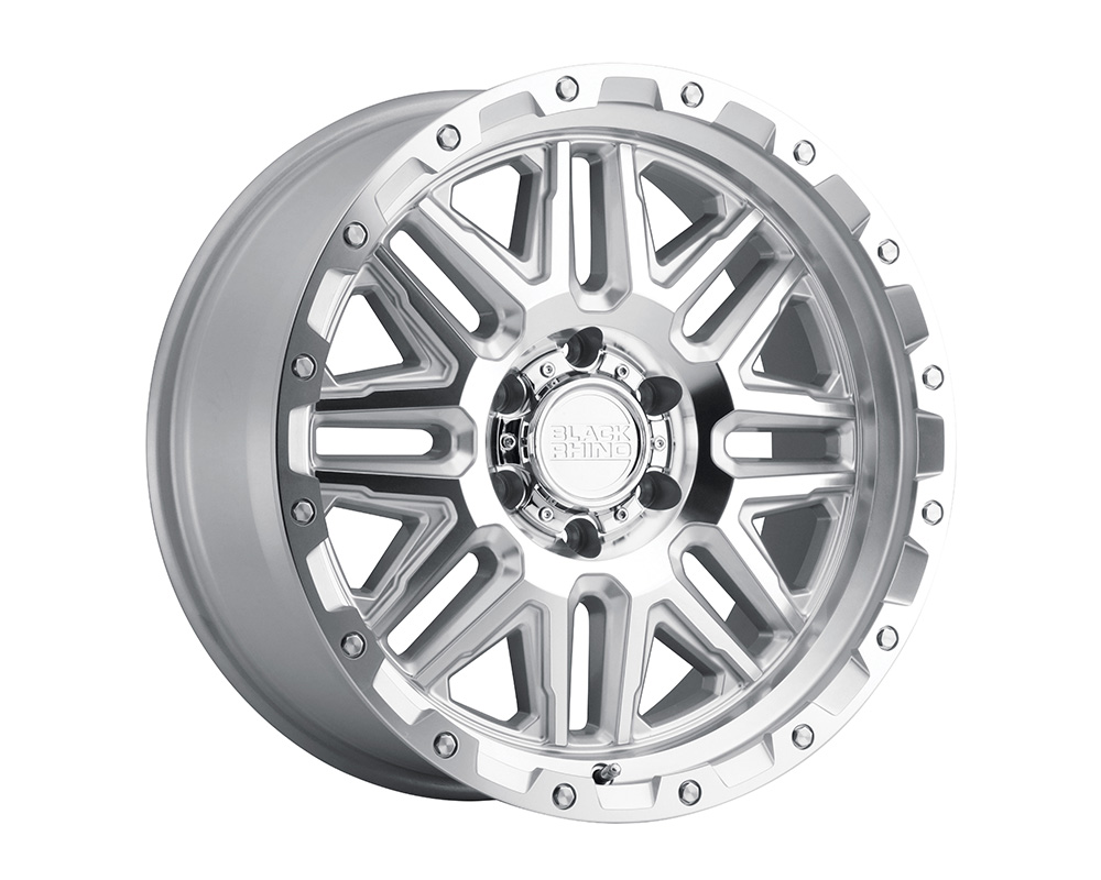 Black Rhino Alamo Wheel 18x9  6x139.7 12mm Silver w/Mirror Face & Stainless Bolts - 1890ALA126140S12