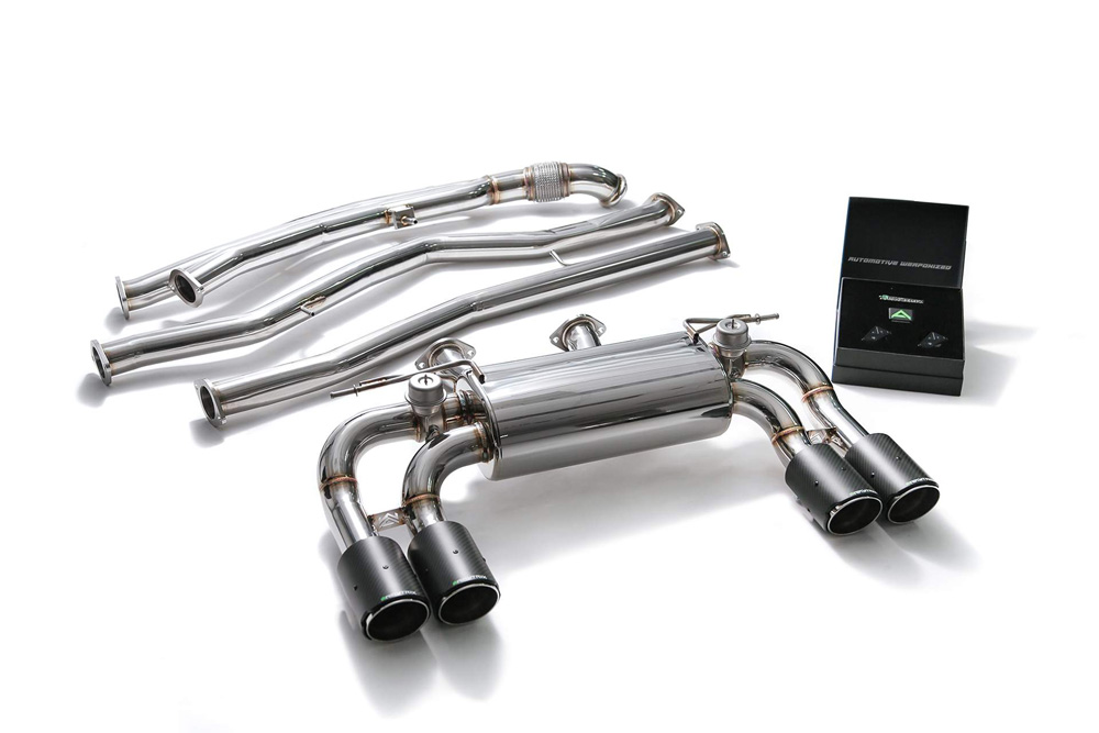 ARMYTRIX Stainless Steel Valvetronic Catback Exhaust System Quad Carbon  Tips BMW M2 F87 16-19