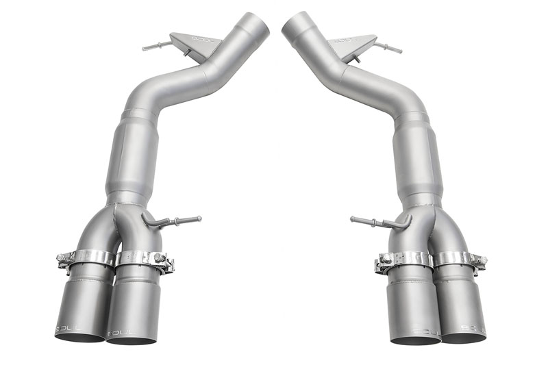 SPP Resonated Muffler Bypass Exhaust 3.5 Inch Straight Cut Single Wall Signature Satin Tips BMW F10 M5 11-16 - BMW.F10.MB.SWT