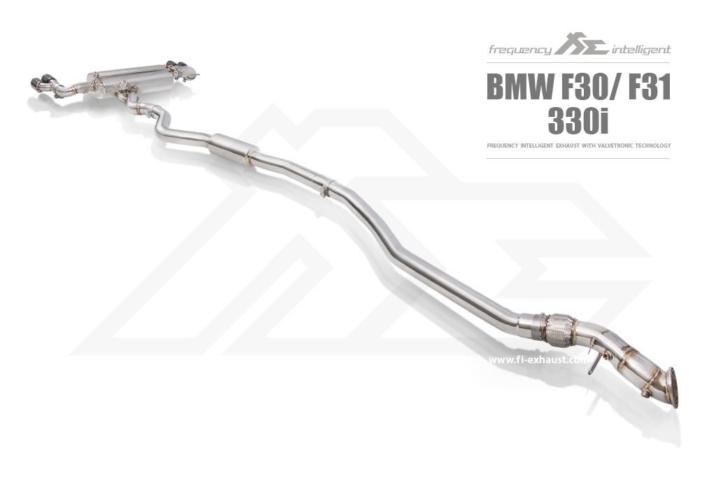 FI Exhaust Front and Mid Pipe Valvetronic Muffler with Dual Tips BMW F30 320i | 330i B48 2015-2021 - BN-F3048-CBV + BN-328-LKP + TIP63101S*2