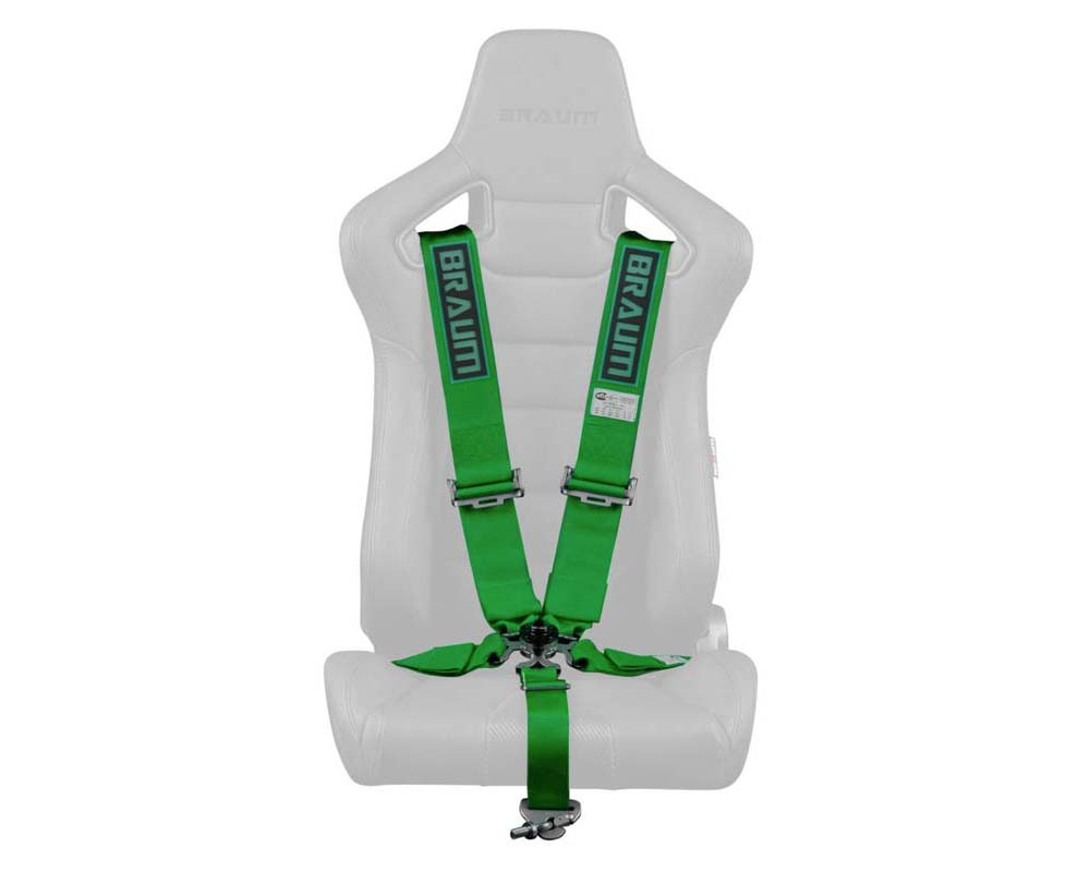 "Braum Racing 5 Point 3"" SFI Approved Racing Harness - Green - BRH-GNS5"
