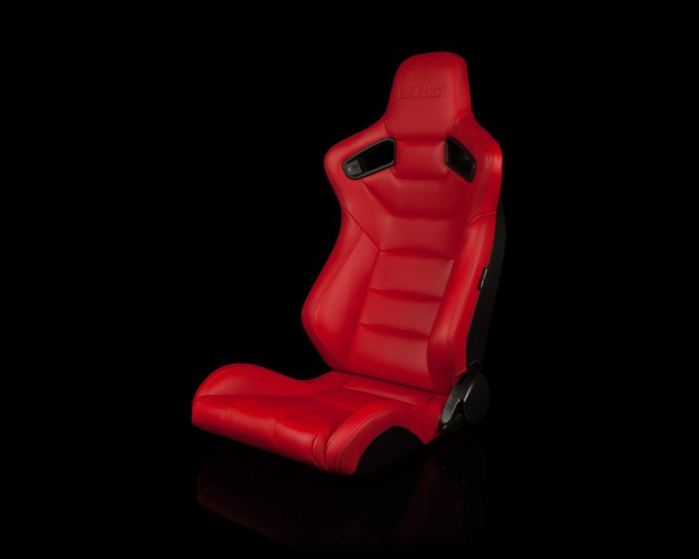Braum Racing Elite Series Reclining Racing Seats Red Leatherette with Black Stitching - BRR1-RDBS