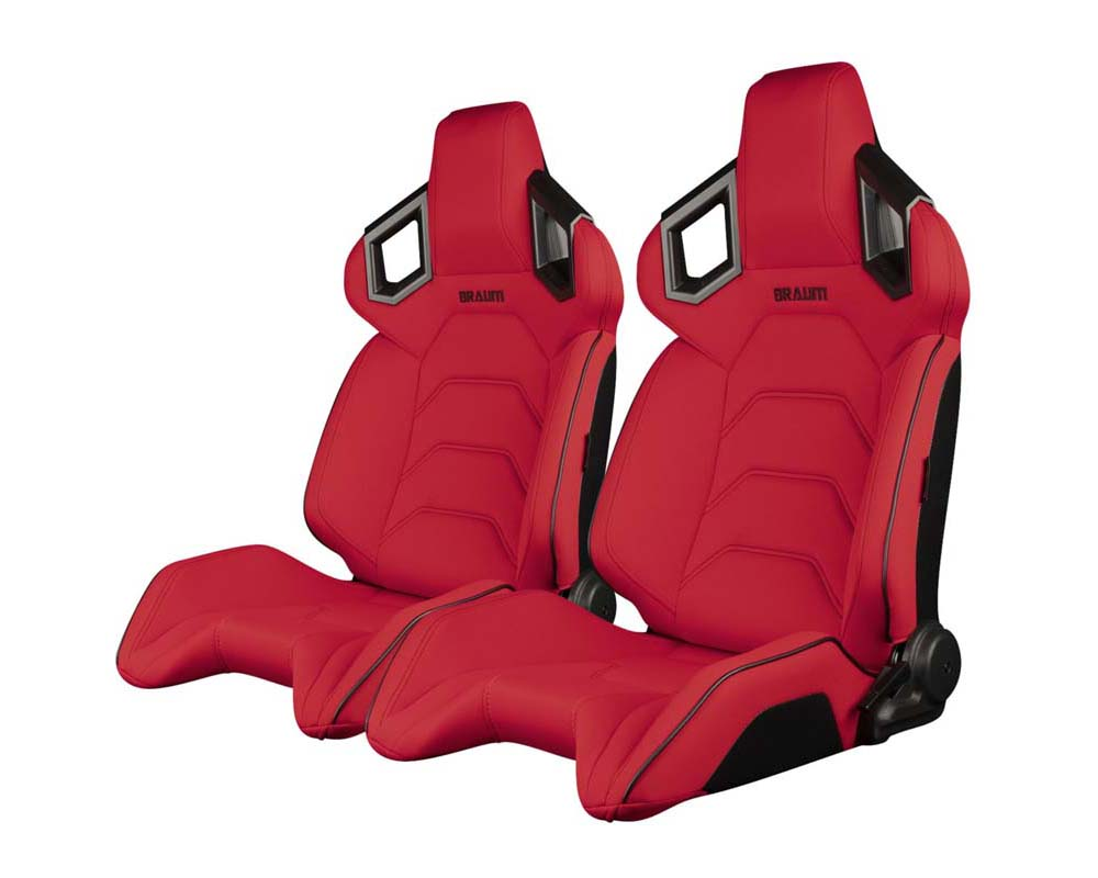 Braum Racing Alpha X Series Sport Seats - Red Polo Fabric (Black Stitching) - BRR5-RFBS