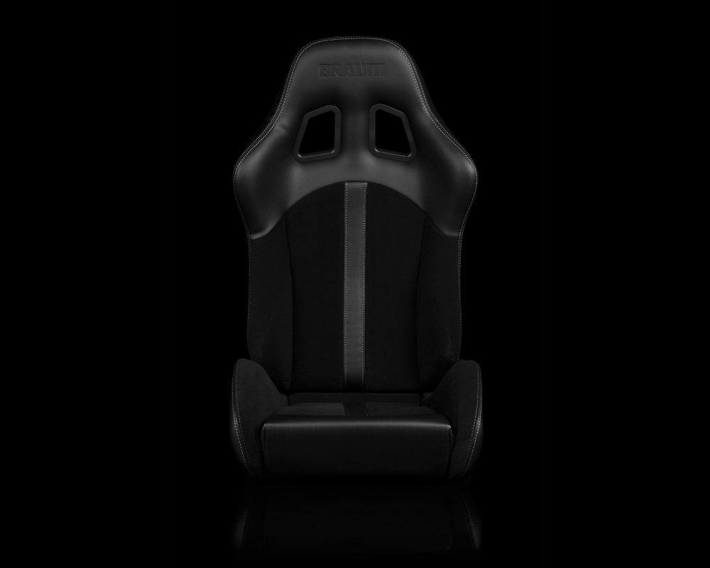 Braum Racing Defender Series Sport Seats - Black (Black Stripe) - BRR4-BKBS