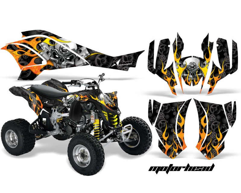 Can Am Ds 450 >> Amr Racing Graphics Kit Quad Decal Wrap Motorhead Black Can Am Ds450 Xmx Xxc 08 16