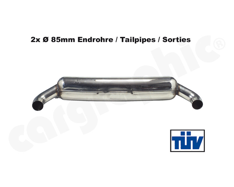 Cargraphic Silencer Super Sound with 85mm Tailpipe Adjustable LH/RH Porsche 930 75-89 - CAR2SS85SS