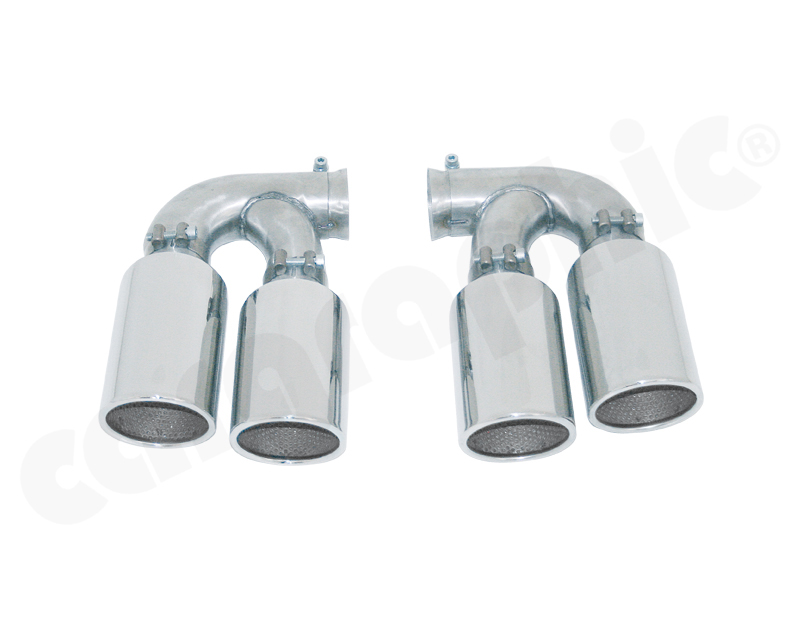 Cargraphic Tailpipe Set Double End Polished 4x100mm Round|Fully Adjustable Porsche Cayenne 02-17 - CARP58V6SCER44