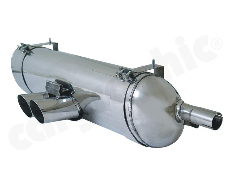 Cargraphic Silencer Super Sound Version with 2x76mm Round|Slash Tailpipes Porsche Boxster 97-00 - CARP86ETS