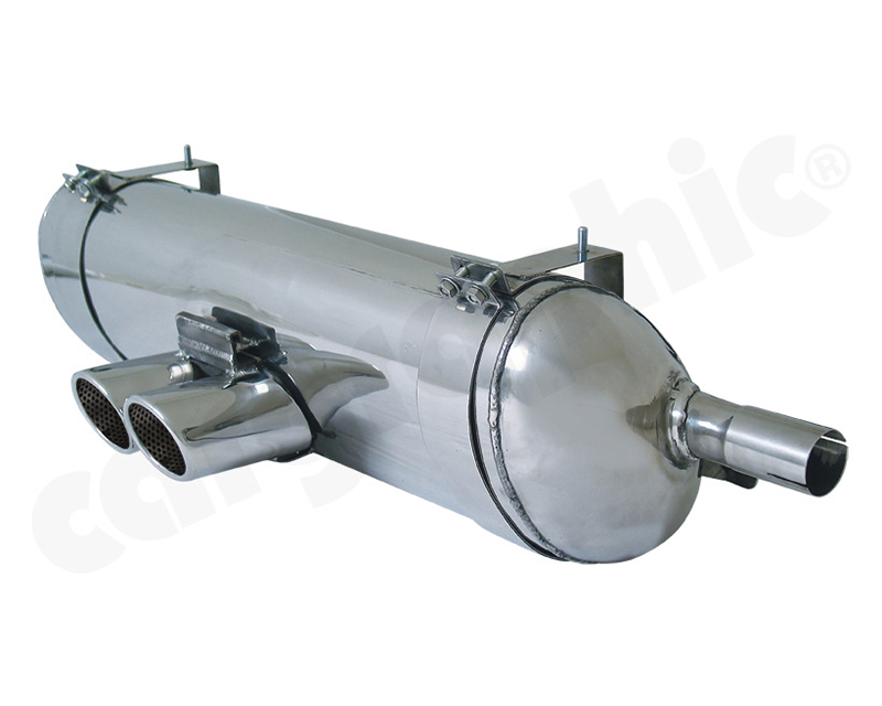 Cargraphic Silencer Tuv Sound Version with 2x88x76mm Oval Tailpipes Porsche Boxster 00-04 - CARP86SETO2