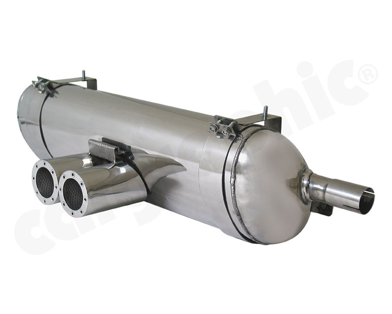 Cargraphic Silencer Super Sound Version with 2x89mm Revolver Perforated Tailpipse Porsche Boxster 00-04 - CARP86SETSREV