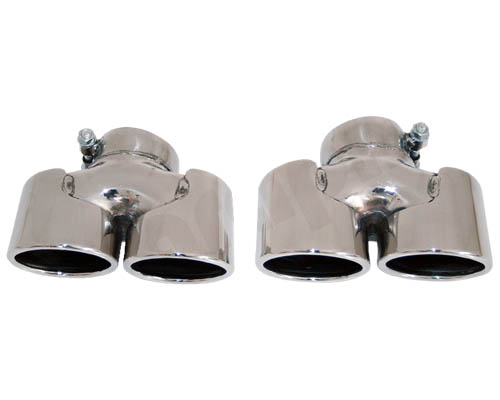 Cargraphic 89mm Polsished Quad Oval Exhaust Tips Porsche 997.2 Turbo 10-12