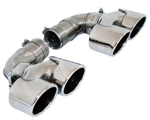 Cargraphic 2x88x77mm Polished Quad Oval Exhaust Tips Porsche 997.1 Turbo 07-09 - CARP97TERO