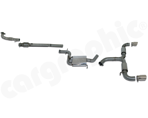 Cargraphic Turbo-Back Exhaust System with Integrate Exhaust Flap Volkswagen Golf Mk6 GTI 10-13 - CARVWG6GTITB1