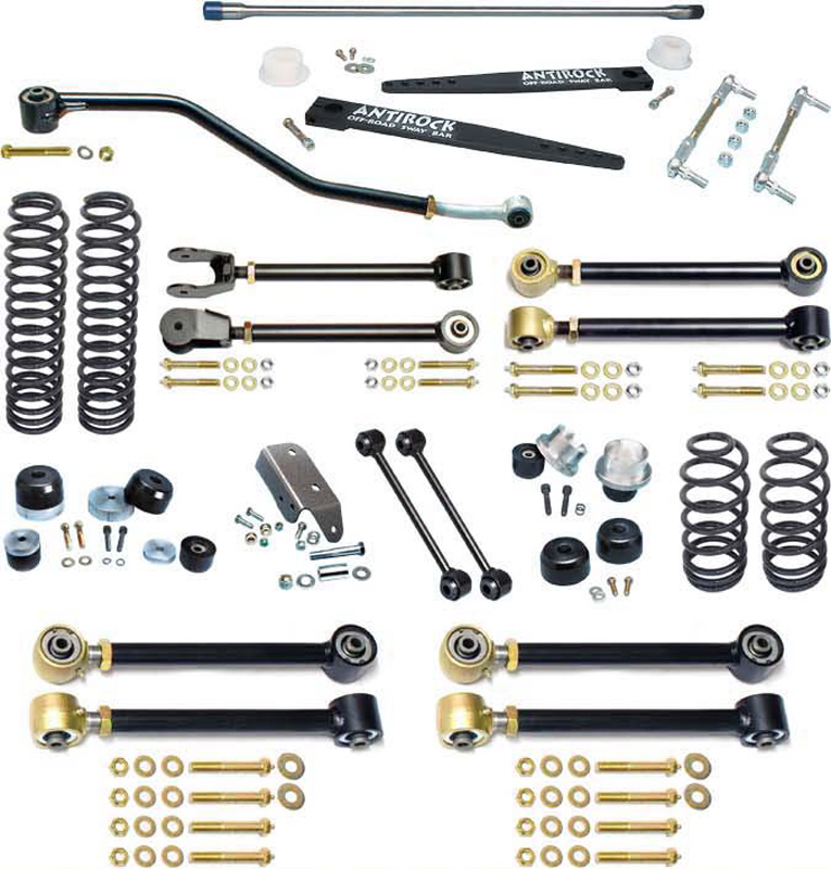 RockJock 4x4 TJ Johnny Joint 4 Inch Suspension System W/Antirock For Up To 35 Inch Tires - CE-9801H
