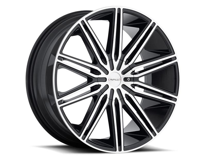 Cavallo Wheels CLV-10 Gloss Black Machined Wheel 22x9.5 5x115 | 5x120 15mm - CLV-1022955115120+15BM