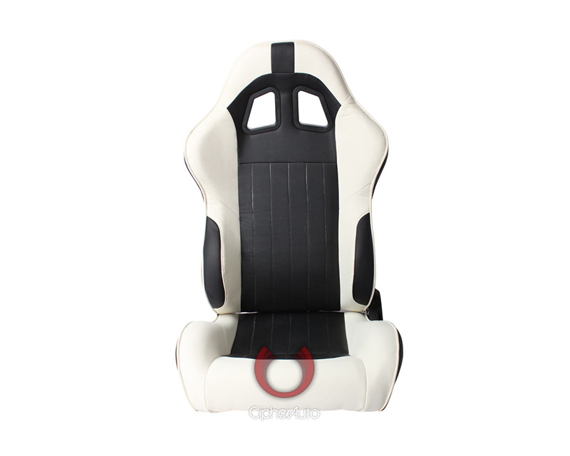 Cipher Auto Black|White Synthetic Leather Racing Seats - Pair - CPA1009PBKWH