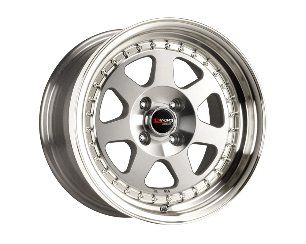 Drag DR-27 Silver Machined Lip 15x7 4x100 40 - DR27157264073S