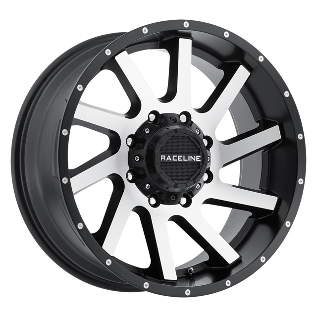 "Raceline Twist Black Machined Face 20x9 8x165.1/6.5""-0.0 -12 - DT-47560"