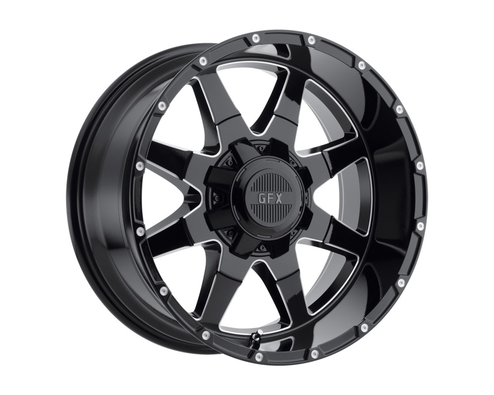 G-FX Wheels TR12 Gloss Black Milled Wheel 17x9 8x165.1 12mm - T12 790-8165-12 GBM