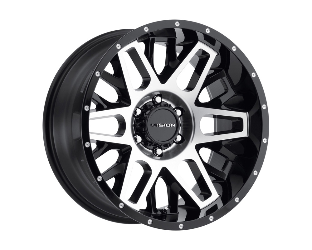 Vision Shadow Gloss Black Machined Face Wheel 20x10 5x127 -25 - 388-20073GBMF-25
