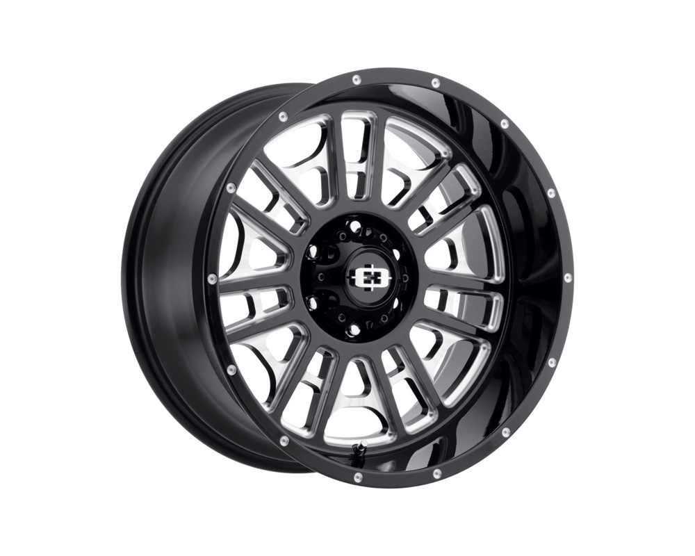 Vision Widow Gloss Black Milled Spokes Wheel 20x10 8x165.1 -25mm - 418-20081GBMS-25