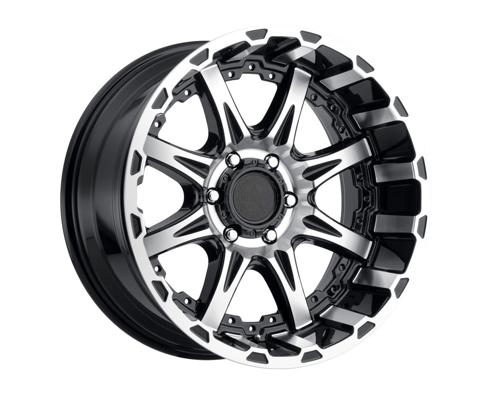 American Outlaw Wheels Doubleshot Black Machined Face Wheel 17x8.5 5x139.7 0 - DT-61496