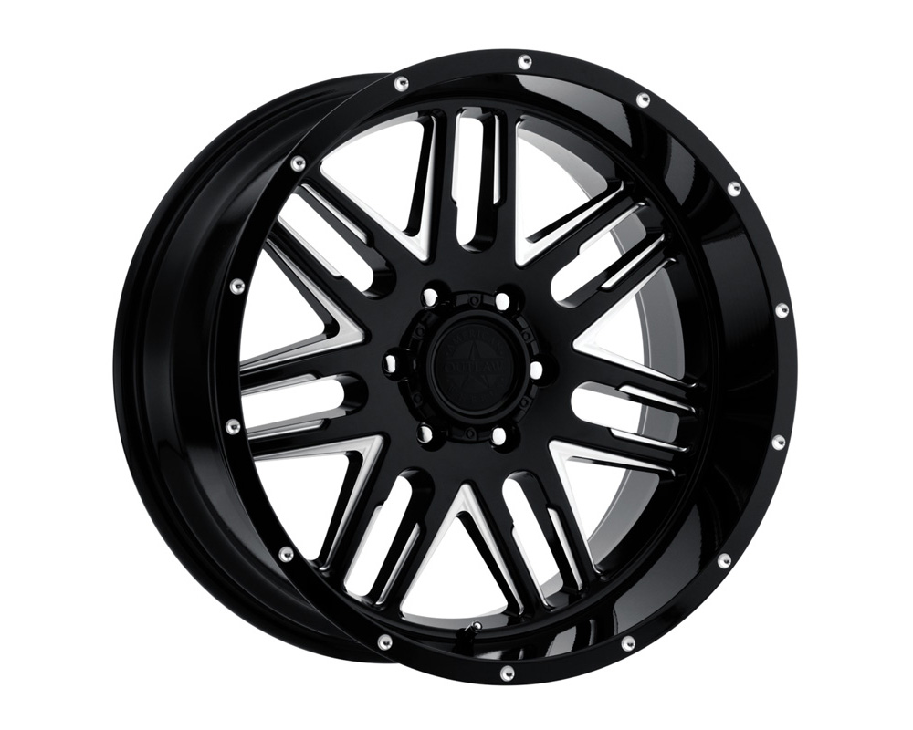 American Outlaw Wheels 12 Gauge Machined Gloss Black Wheel 17x8.5 6x139.7 0 - DT-63620