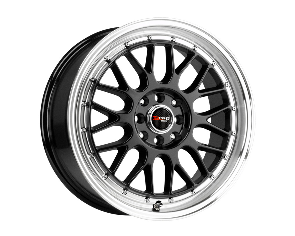 Drag DR-44 Gloss Black Machined Lip 15x7 4x100/114.3 40mm - DR44157044073GB