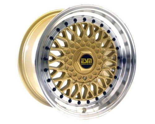 ESM Wheels Gold/Machined Polished Lip Black Rivet ESM-002R Cast Wheel 15x9 4/5x100 +10mm - ESM-002RGLBR15X9