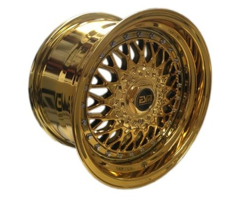 ESM Wheels Gold Chrome/Chrome Rivet ESM-002R Cast Wheel 15x9 4/5x100 +10mm - ESM-002RGPLCR15X9