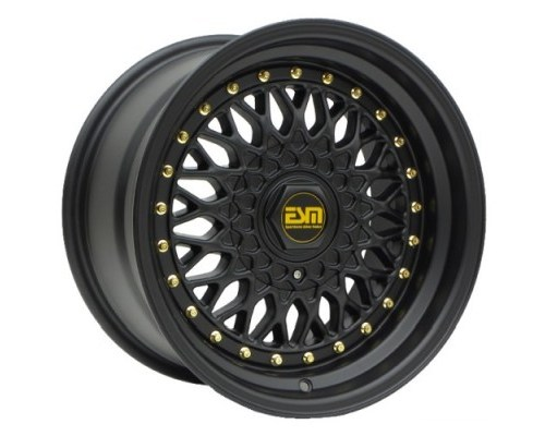 ESM Wheels Matte Black/Gold Rivet ESM-002R Cast Wheel 15x7 4/5x100 +15mm - ESM-002RMBGR15X7