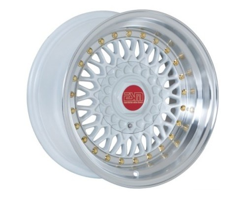 ESM Wheels White/Machined Polished Lip Gold Rivet ESM-002R Cast Wheel 15x9 4/5x100 -20mm - ESM-002RWH15X9-20